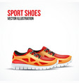 Running colorful pair shoes Bright Sport sneakers vector image