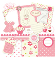 Scrapbook set for baby girl vector image vector image