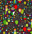 Seamless Pattern with Circus Clowns Balloons vector image vector image