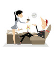 secretary woman coffee and boss vector image vector image