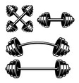 set gym barbells design element for logo vector image vector image