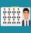 set of male facial emotions business man vector image vector image