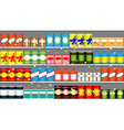 Supermarket shelves with garlands vector image