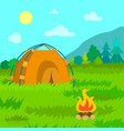 tent travelers bonfire and forests area vector image
