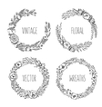 vintage wreaths collection trendy cute vector image vector image