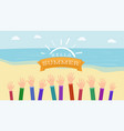 welcoming summertime flat banner raised vector image