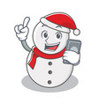 with phone snowman character cartoon style vector image vector image