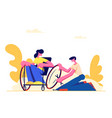 young disabled woman sitting in wheelchair vector image vector image