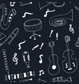 jazz musical instruments seamless pattern vector image