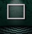 Picture frame in dark empty interior vector image