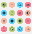 audio icons set collection of note donate audio vector image vector image