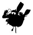 Black silhouette scuba divers vector image vector image