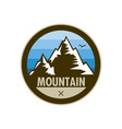 blue mountain peak adventure shield badge design vector image