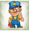 cartoon funny man plumber in uniform showing thumb vector image vector image