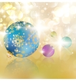 Christmas balls on abstract golden lights vector image