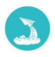 circle light blue with paper plane launch vector image vector image