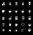 Coffee icons with reflect on black background vector image