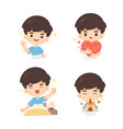 collection cute boy in many pose vector image vector image