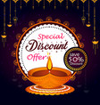 creative diwali sale banner with diya and vector image vector image