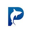 creative fish shape initial p lettermark symbol vector image