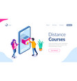 distance courses isometric concept online library vector image vector image