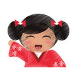 drawing japanese doll portrait vector image vector image