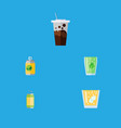 flat icon drink set of beverage lemonade cup and vector image vector image