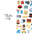 flat theatre icons background with place vector image vector image