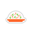 fried rice with shrimp sticker vector image vector image