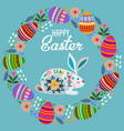 happy easter cartoon cute folk rabbit with wreath vector image