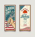 happy labor day america flag wrench in hand vector image