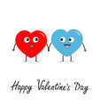 happy valentines day sign symbol red blue heart vector image vector image