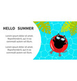 hello summer banner flyer swimming water pool vector image
