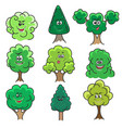 kawaii trees set vector image vector image