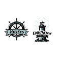 lighthouse sea pier harbour logo or label vector image vector image