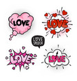love four speech bubbles set vector image vector image