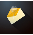 Magnifying Glass in Yellow Envelope Icon vector image