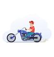 man on motorcycle biker driving blue motorcycle vector image