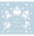 Merry Christmas and New Year labels in blue color vector image vector image