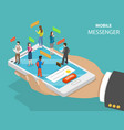 mobile messenger flat isometric concept vector image vector image