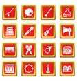 musical instruments icons set red square vector image vector image