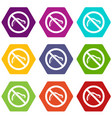 no caterpillar sign icon set color hexahedron vector image vector image