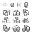 outline coins icons set on white background vector image