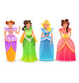 princesses cartoon set vector image vector image