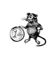 rat with long tail as new year symbol holding vector image vector image