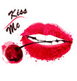 red sensual female lips painted by watercolor vector image