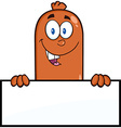Sausage Cartoon Holding a Sign vector image vector image
