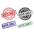scratched textured boys only seal stamps vector image
