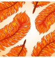 Seamless background with fiery feathers vector image