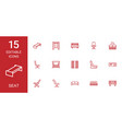 seat icons vector image vector image